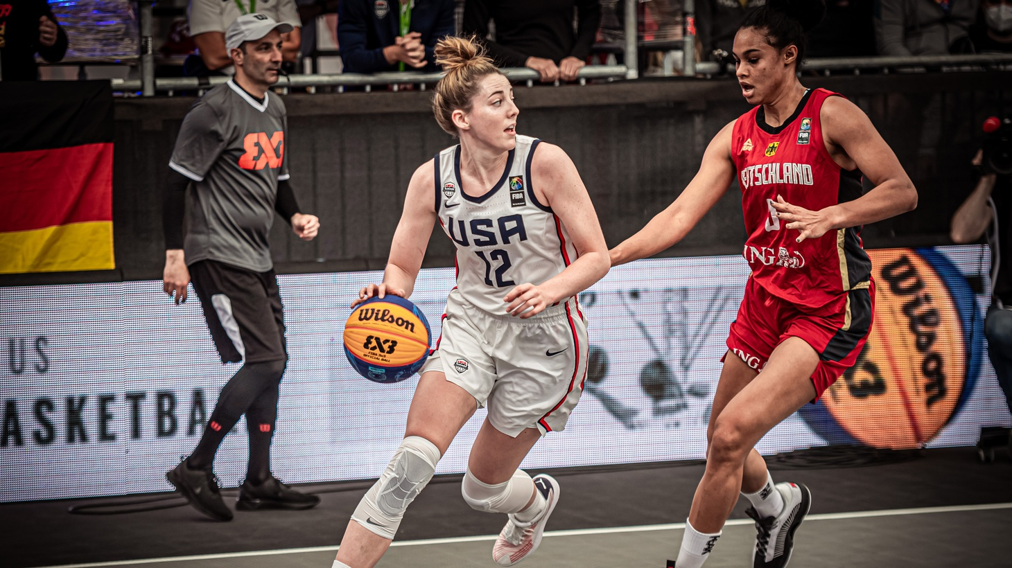 Katie Lou Samuelson (#12) in the recent FIBA three-on-three Olympic qualifying tournament.