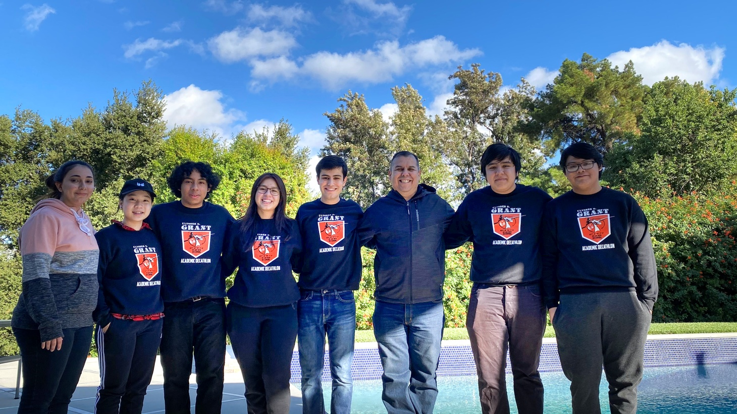 The Grant High School decathlon team in early 2020. Due to the pandemic, this year's team has been unable to meet up in person to practice or compete.