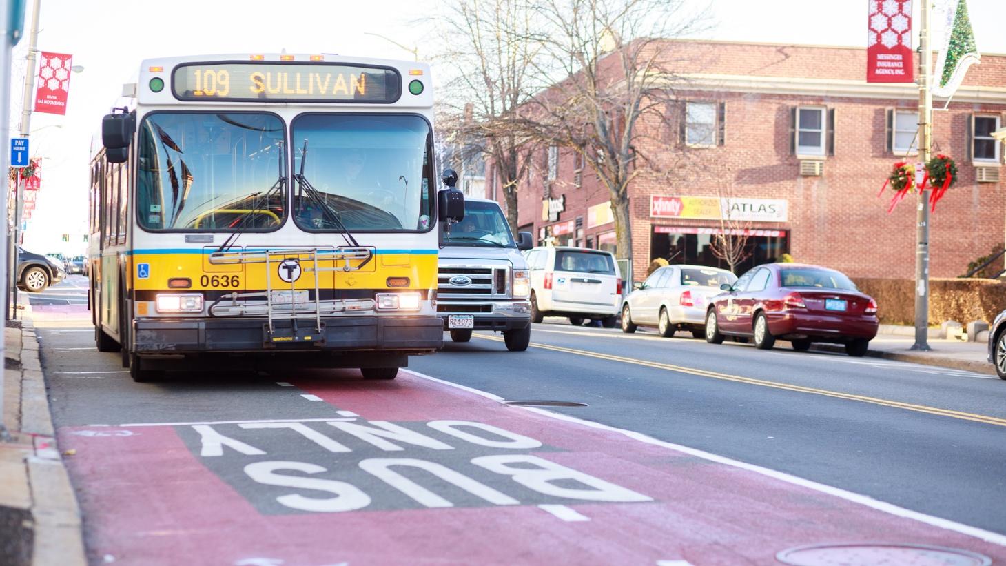 A dedicated bus lane in Boston.