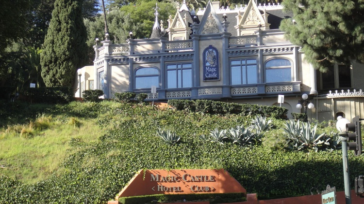 The exclusive Magic Castle sits perched on a hill overlooking Hollywood.