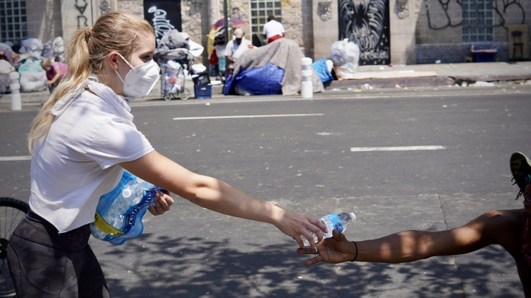 Skid Row has about 4,700 unhoused residents, and it's tough for them to find clean water.