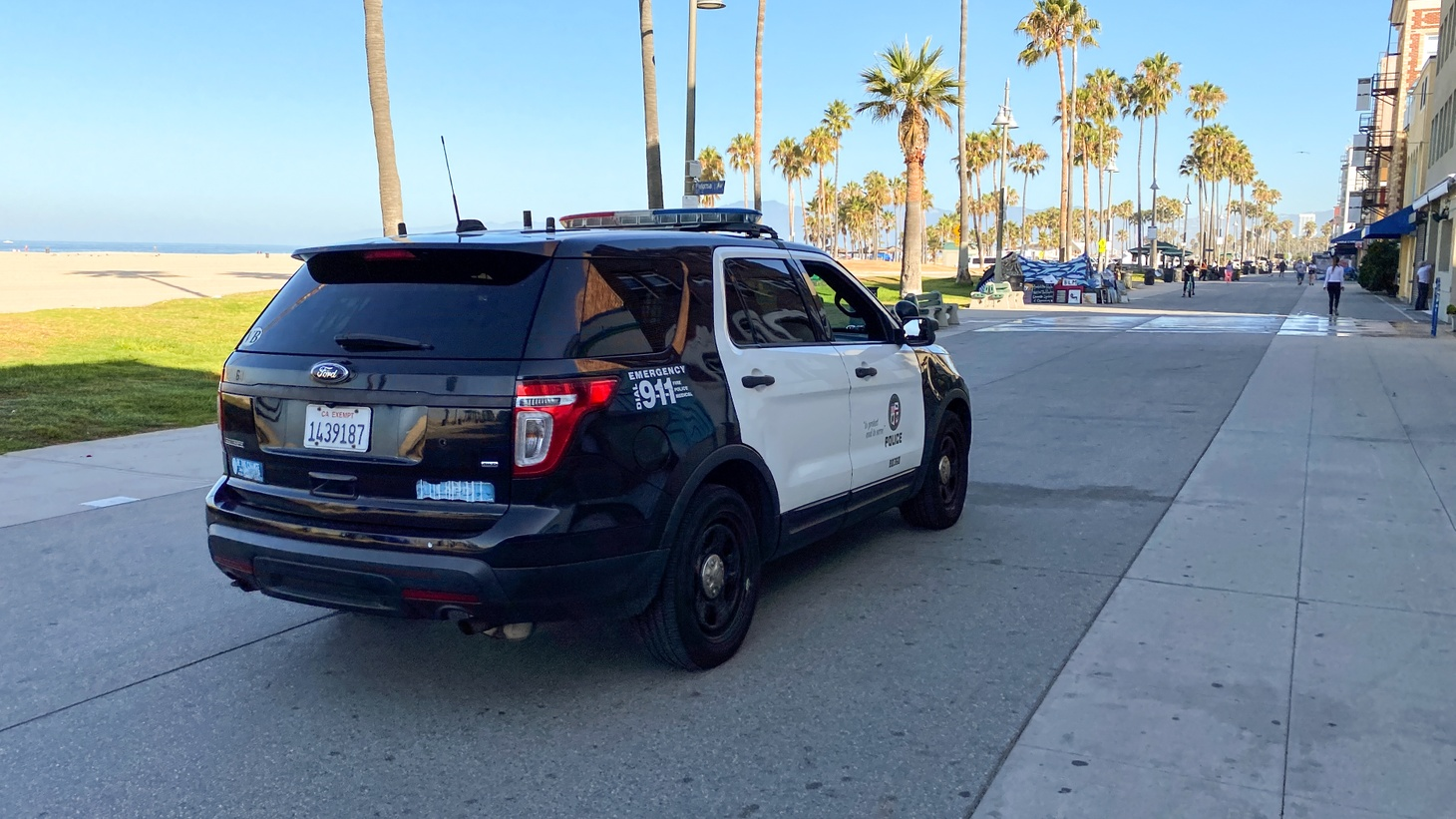 An LAPD vehicle on the Venice boardwalk, July 31, 2020. The California legislature must vote on all the remaining police reform bills by midnight.
