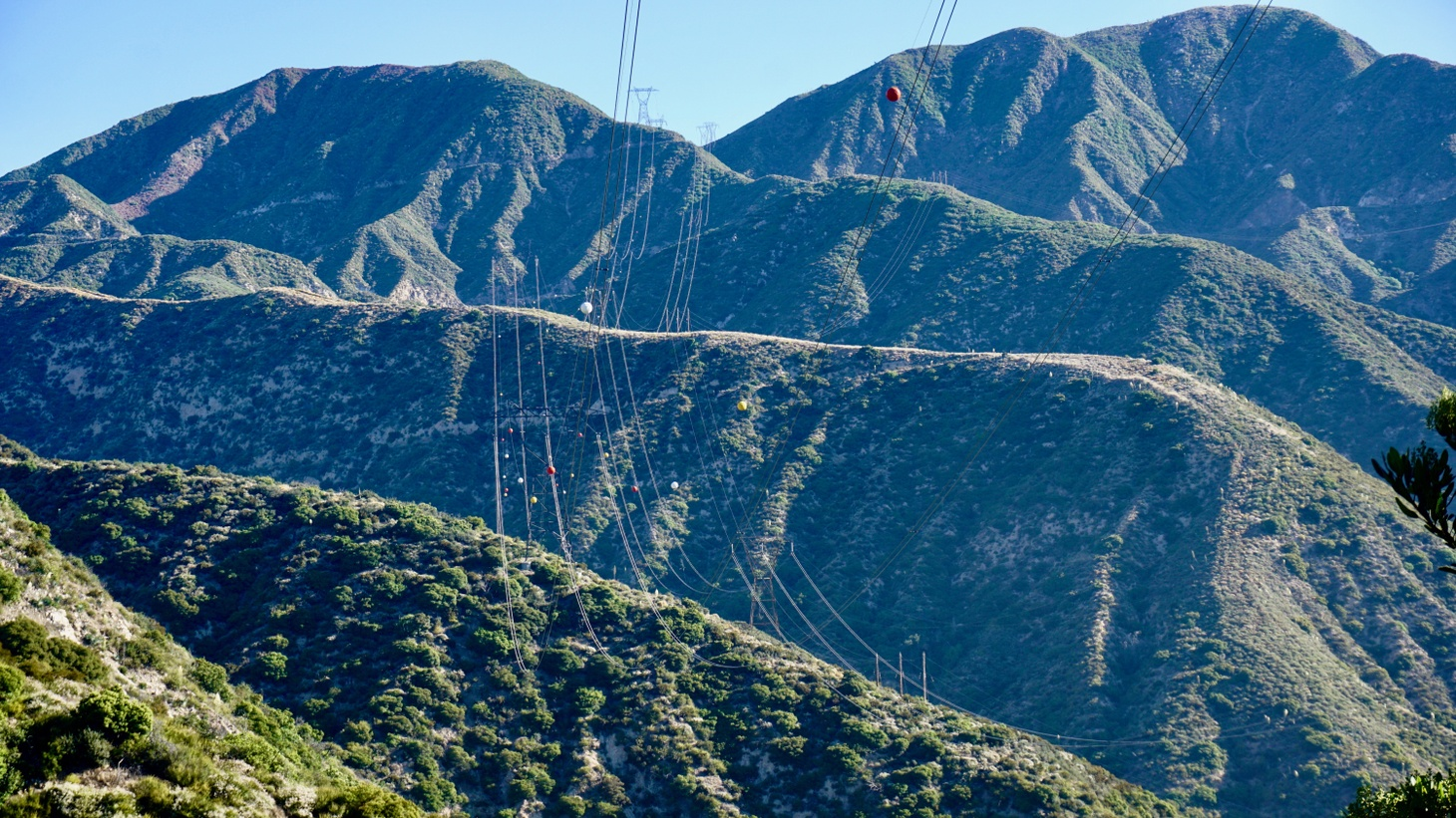 Electrical lines in the San Gabriel Mountains.