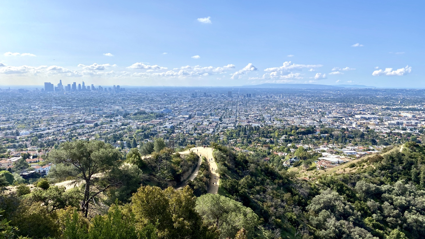 View of hiking trails, Griffith Park, and downtown LA in the distance. March 21, 2020.