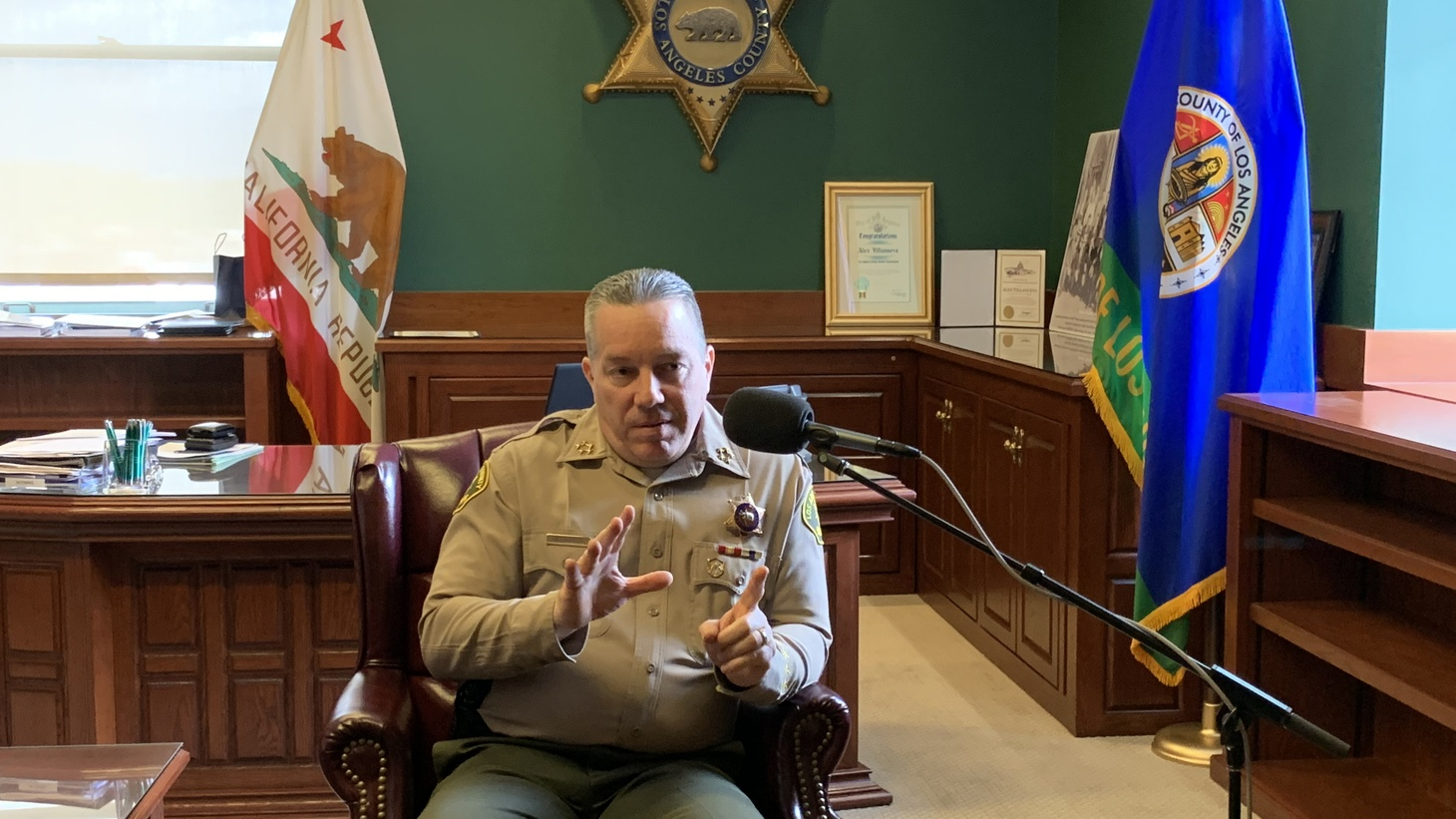 Sheriff Villanueva in an interview with KCRW at his office at the Hall of Justice in downtown Los Angeles.