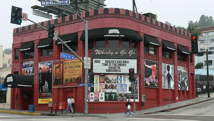 We go to Sunset Boulevard, between Crescent Heights and Doheny. That's the world-famous Sunset Strip. It's home to the Whisky a Go Go, where 50 years ago The Doors were the house band.