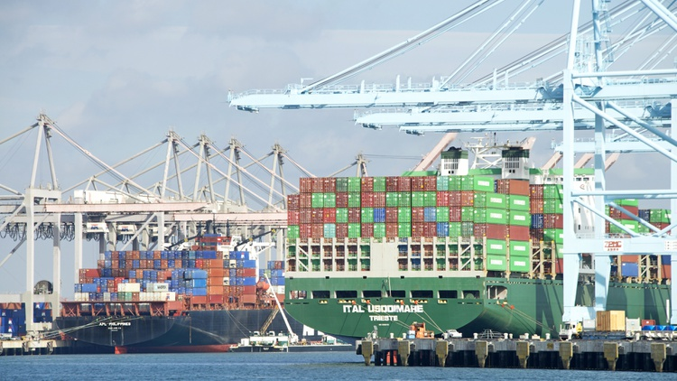 The ports of LA and Long Beach handle more shipping containers per ship than any other port complex in the world, and right now, dozens of cargo ships are anchored off the coast.