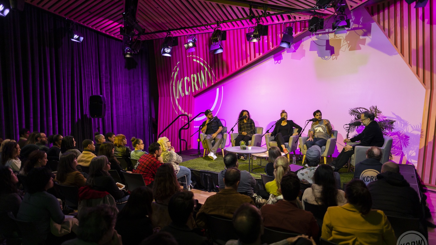 """Panel discussion and audience at KCRW's event """"Take Me To Your Dealer."""""""