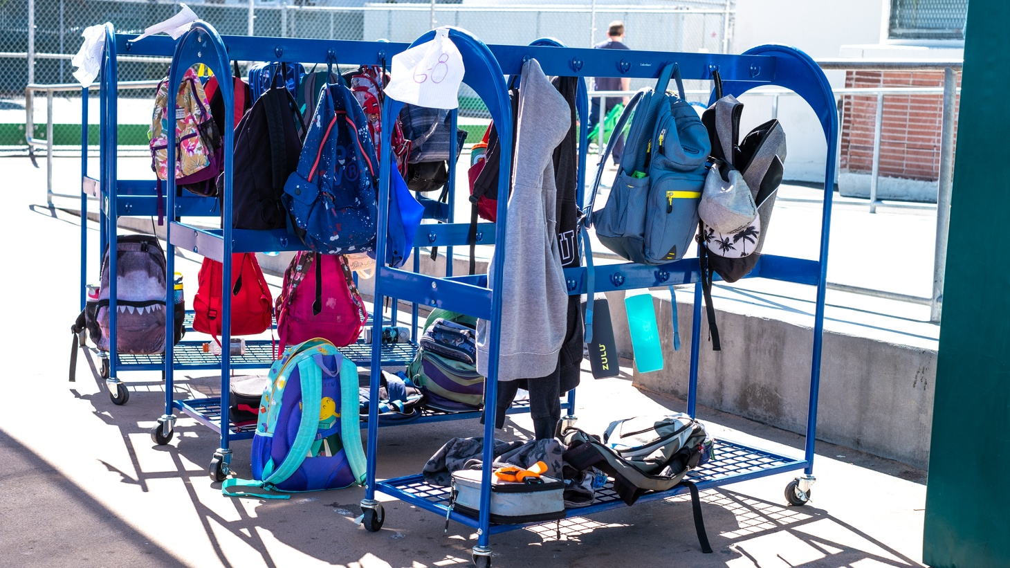 Students' backpacks at Palms Middle School.
