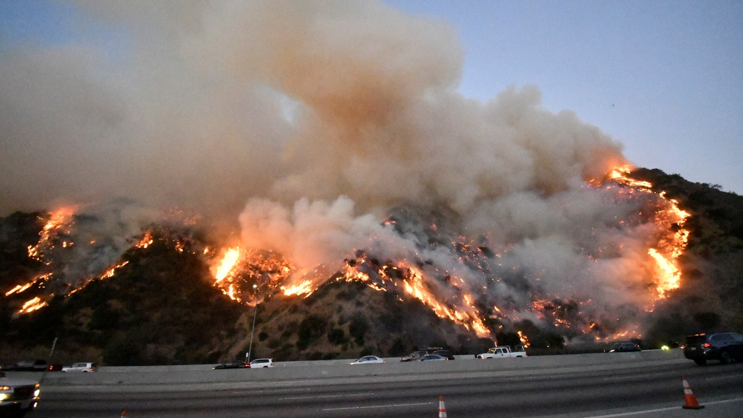 The Getty Fire burns near the Getty Center along the 405 freeway north of Los Angeles, California, U.S. October 28, 2019.
