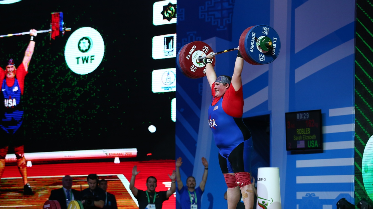 Sarah Robles at the 2018 IWF World Weightlifting Championships in Ashgabat, Turkmenistan.