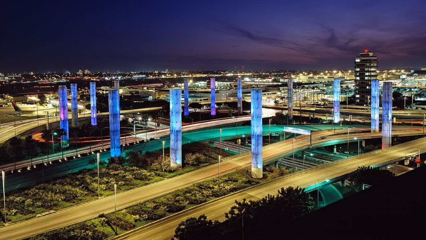 LAX airport at night.