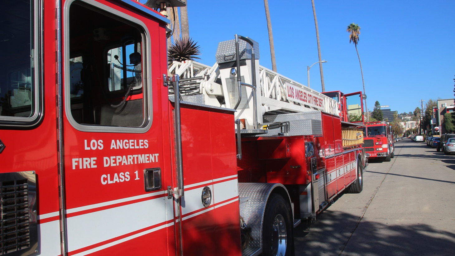 A Los Angeles Fire Department fire truck is seen near Hollywood Blvd. in downtown Los Angeles, California.