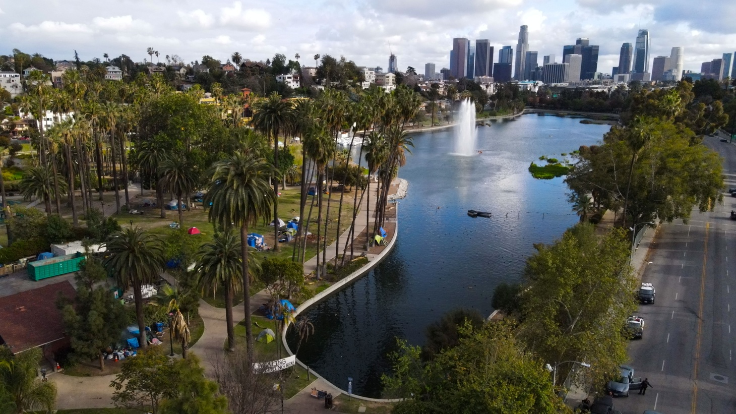 A photo taken with a drone shows tents pitched by Echo Park Lake, as police prepared for the removal of homeless encampments during the outbreak of the coronavirus disease (COVID-19), in Los Angeles, California, U.S.