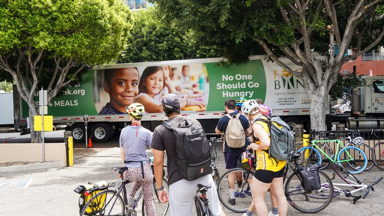 Since August 2020, the mutual aid group Bicycle Meals has been delivering bags of sandwiches, fruit, snacks, masks, and hand sanitizer to unhoused residents of Koreatown.