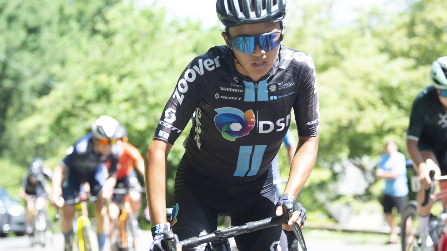 Coryn Rivera of team DSM competes in the 2021 USA Cycling Professional Road Race National Championship. It was a nine-lap, 71-mile course across downtown and South Knoxville.