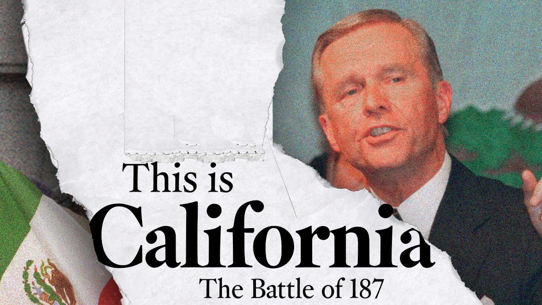 The artwork for LA Time's new podcast, The Battle of 187.