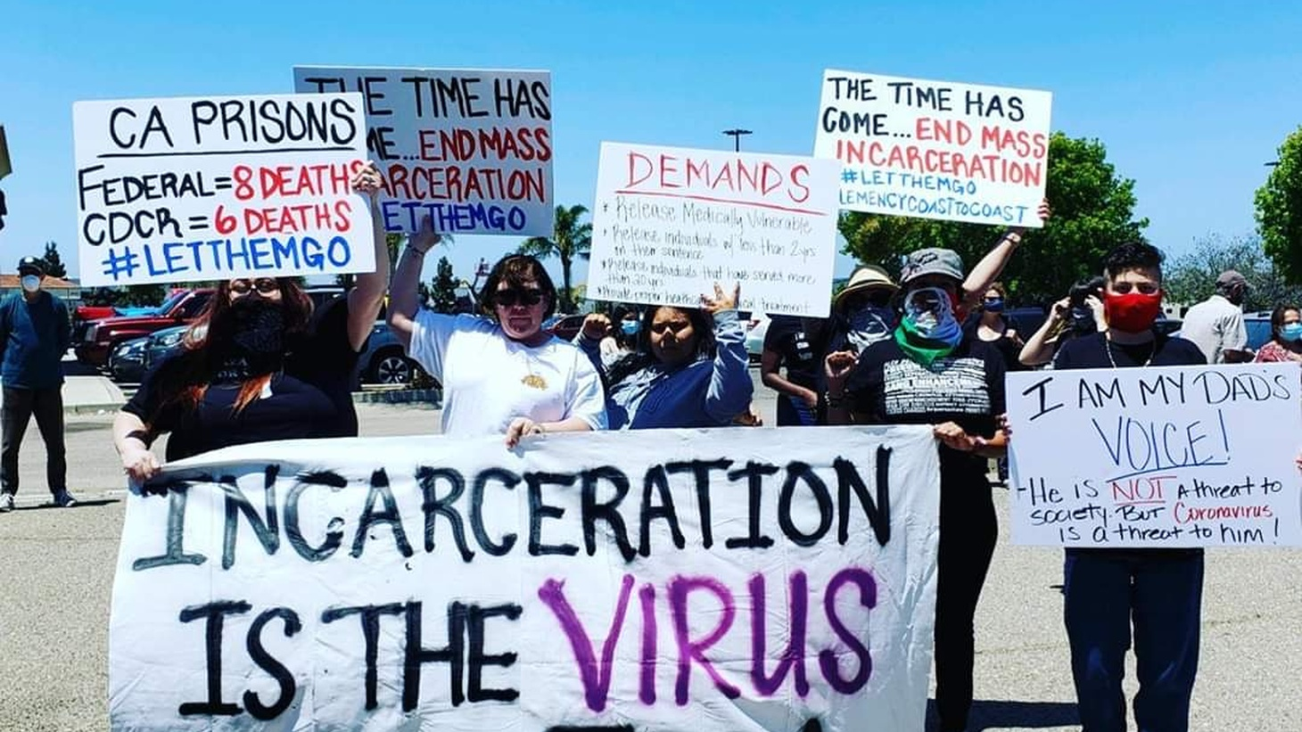 Protesters outside the Lompoc federal prison on May 24.