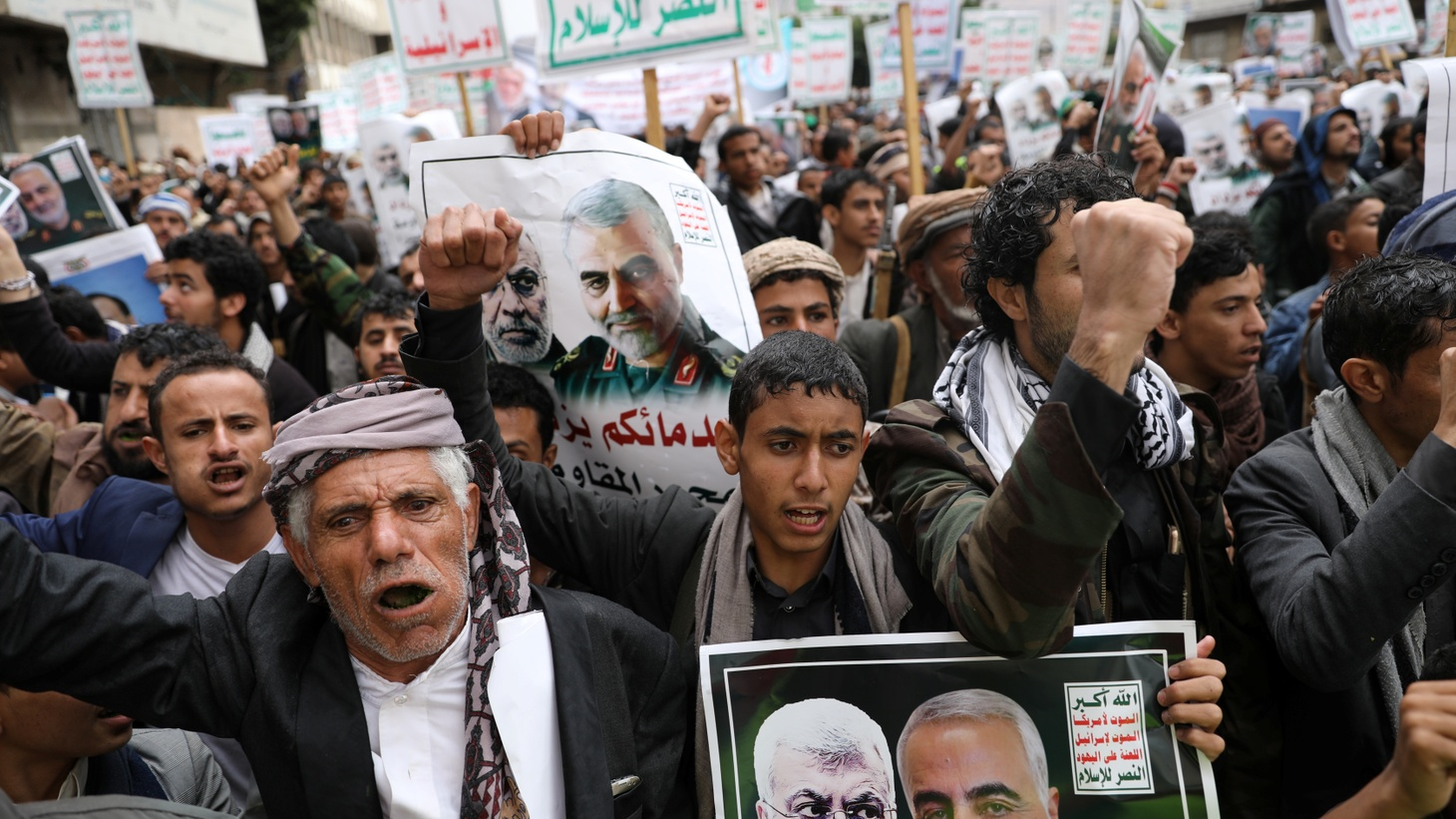 Supporters of the Houthis rally to denounce the U.S. killing of Iranian military commander Qassem Soleimani and Iraqi militia commander Abu Mahdi al-Muhandis, in Sanaa, Yemen January 6, 2020.
