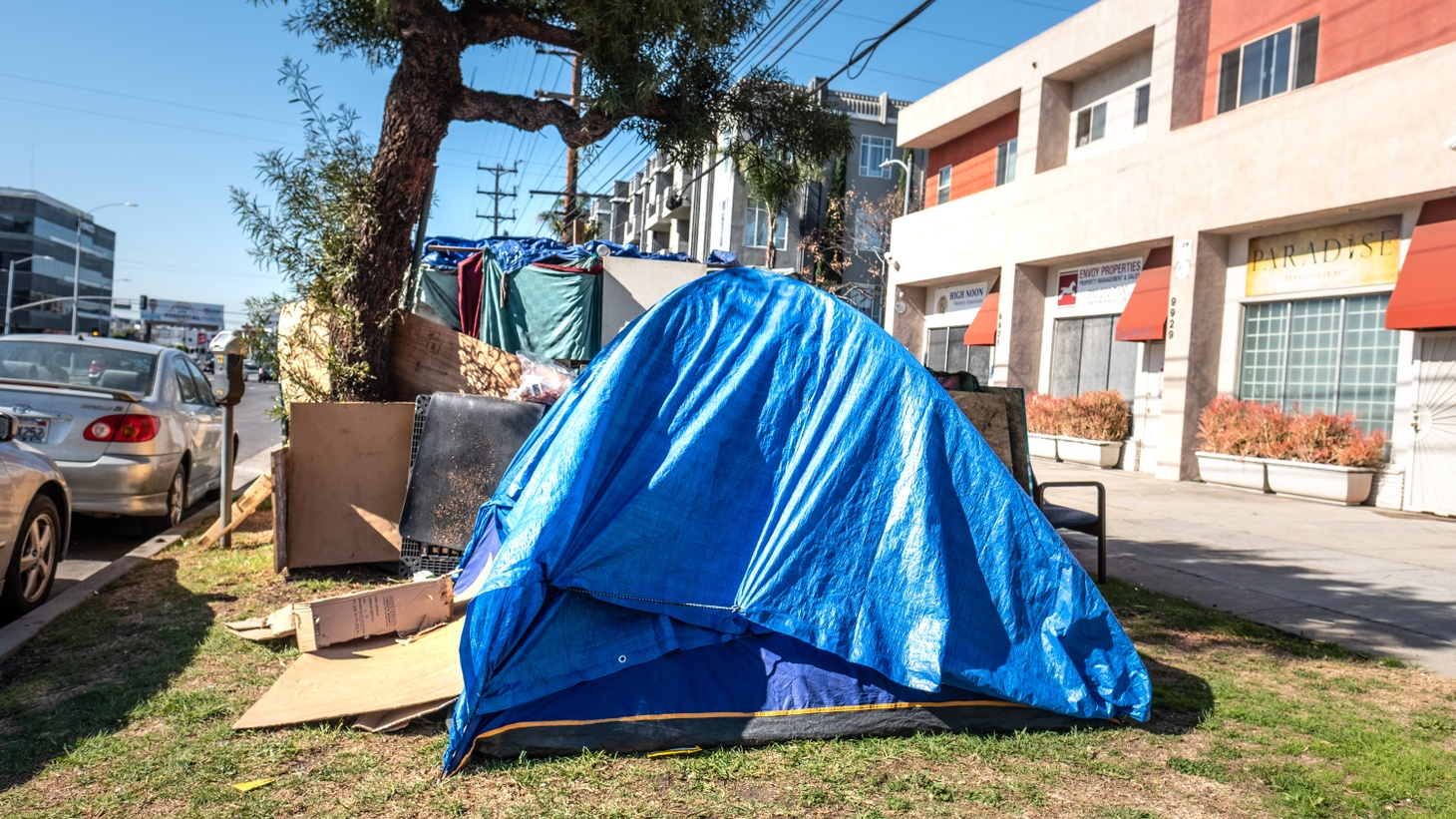 A homeless encampment on Venice Blvd. in Culver City. Many of these encampments are all over LA, and one woman is trying to get unhoused people off the streets by turning empty buildings in South LA into their new homes.