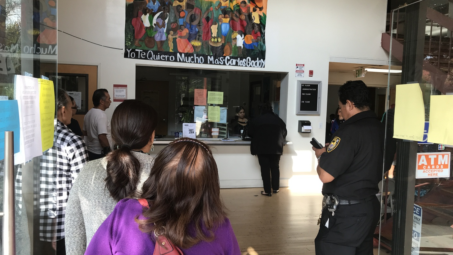 People in line at the Central American Resource Center (CARECEN) in Los Angeles, which takes walk-in appointments for legal help.
