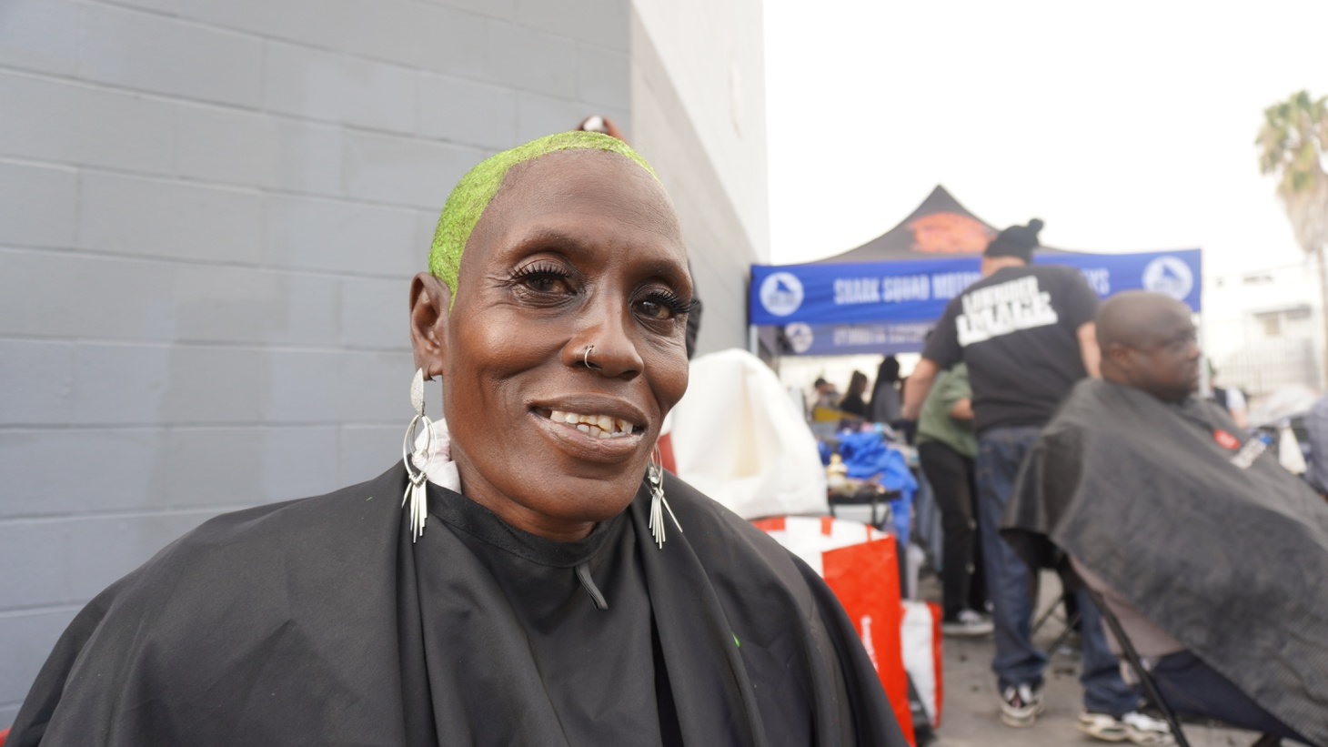 Denice Williams smiles after getting her hair dyed by Beauty 2 the Streetz.