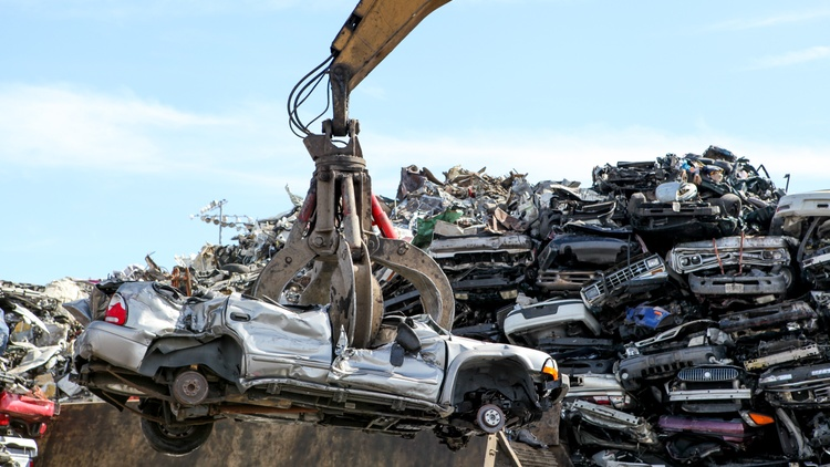 KCRW's Steve Chiotakis visits a giant car shredder between the Ports of L.A. and Long Beach on the aptly named Terminal Island.