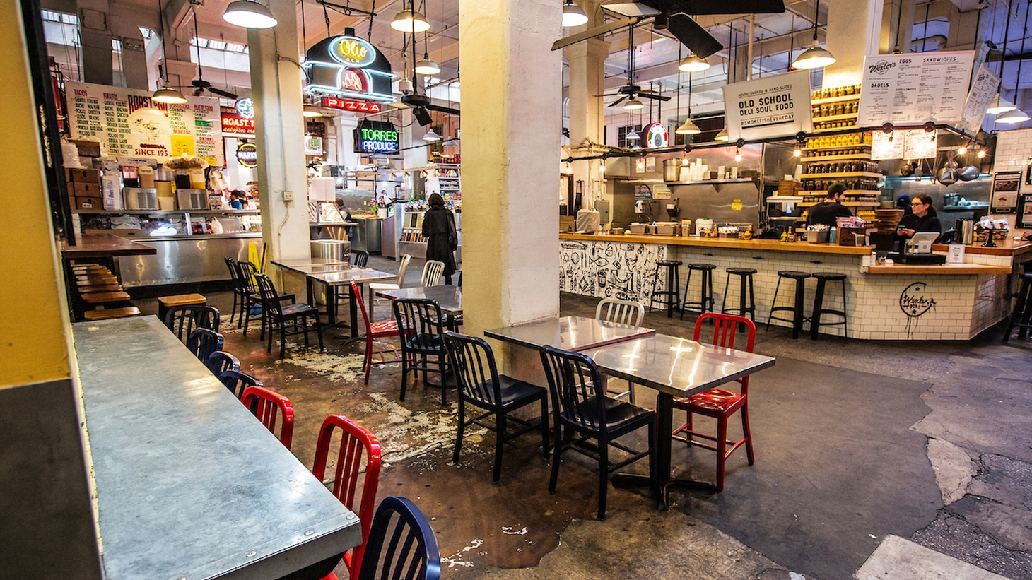 Grand Central Market in downtown LA is largely empty as stay-at-home orders continue. Restaurants and many other businesses here are hurting economically.