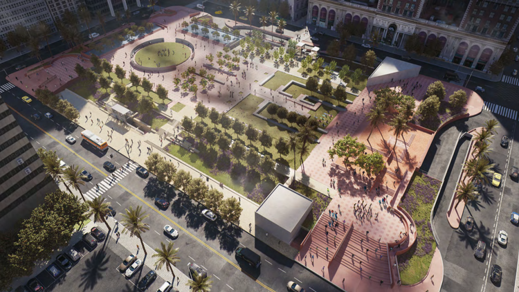 City Councilman Jose Huizar held a press conference on Monday about his 4-year-old plan to revamp downtown's Pershing Square.