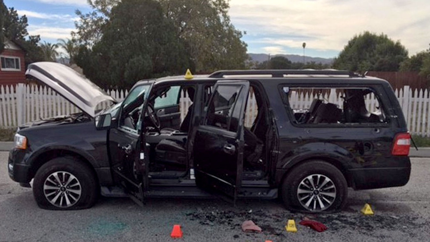 The suspect's vehicle involved in a shootout with the police, in the 2015 San Bernardino shooting.