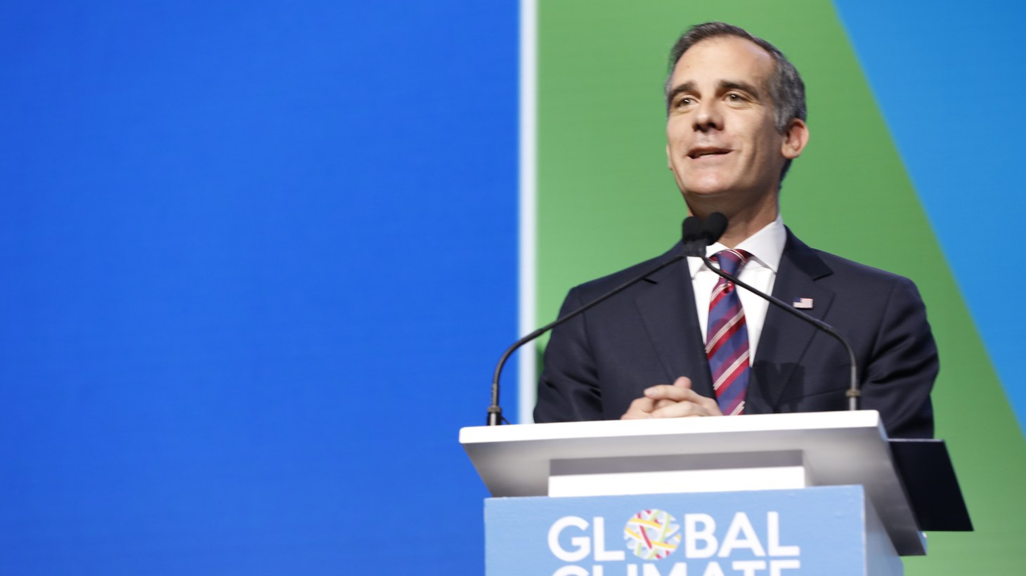 Mayor Eric Garcetti at the Global Action Climate Summit.