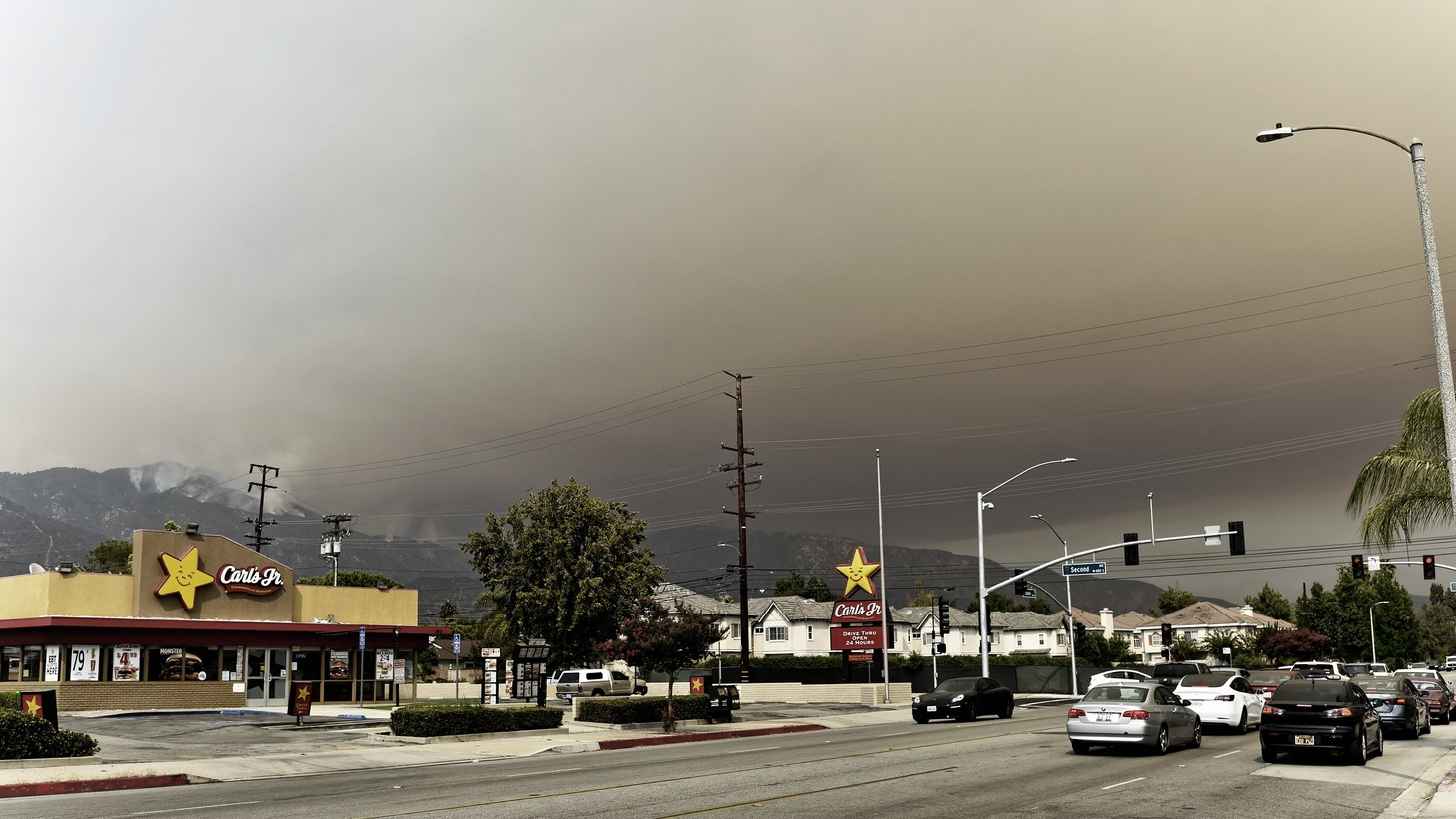 A thick blanket of smoke from the Bobcat Fire in Angeles National Forest, near Monrovia, is seen on Sept. 9, 2020.