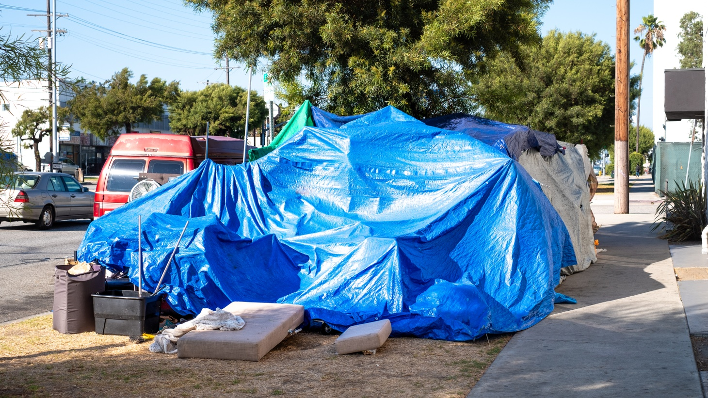 A large homeless encampment sits in Culver City, CA, July 28, 2020. So far this year, more than 900 unhoused people have died in LA County.