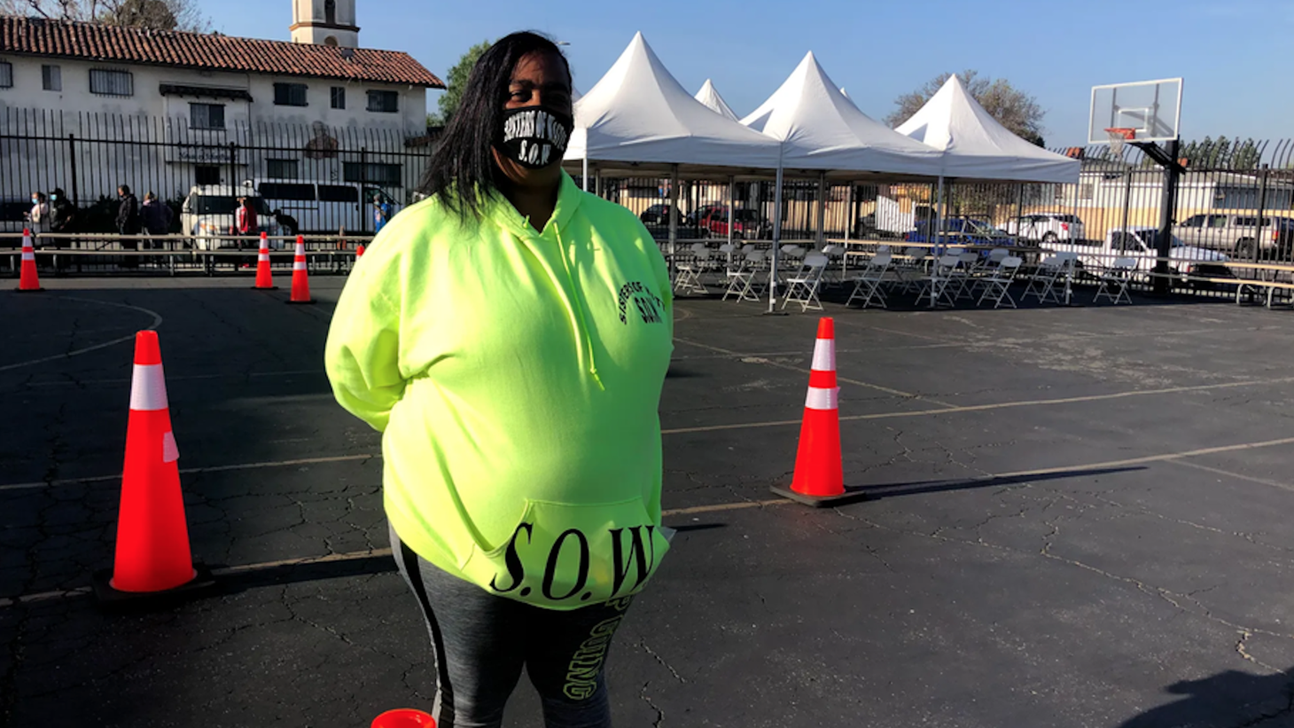 Robin Daniels, CEO of the nonprofit Sisters of Watts, says she called her neighbors and knocked on doors to find patients for the Watts mobile vaccination site.
