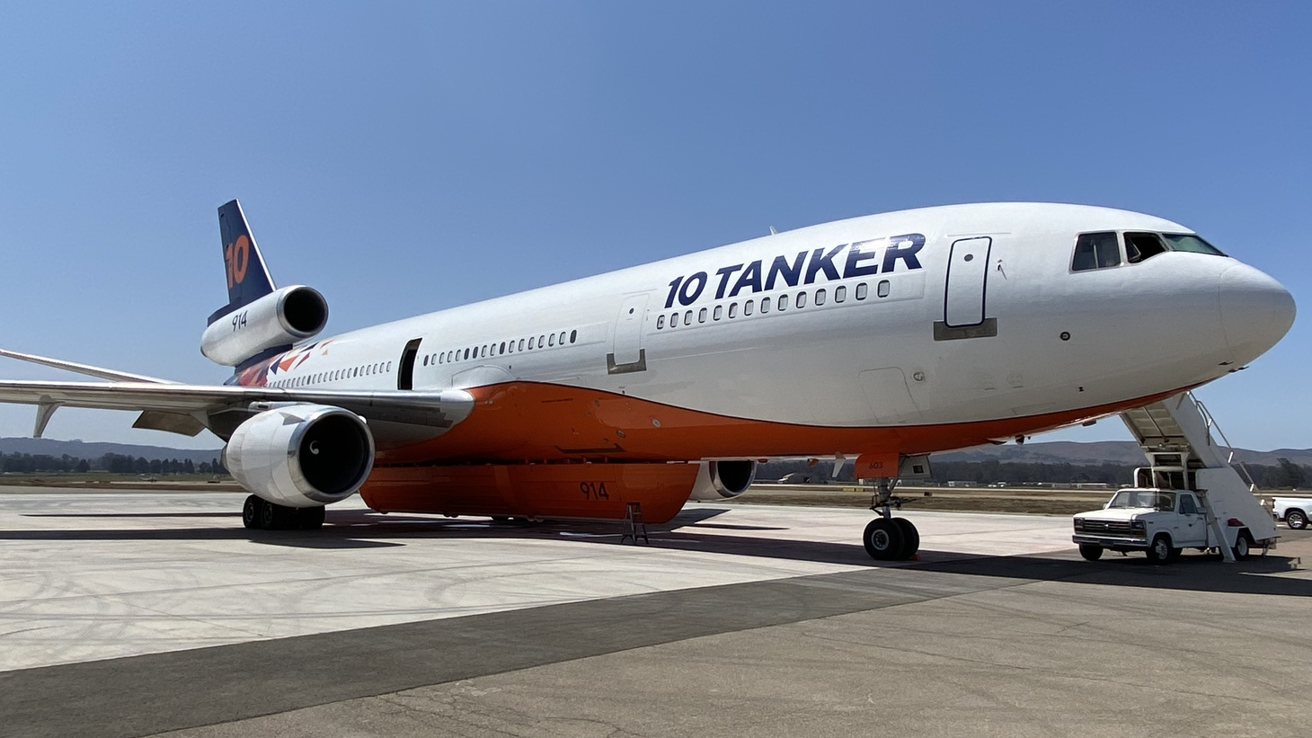 Tanker 914 is one of four DC-10 jets converted from passenger service to firefighting by the Albuquerque-based 10 Tanker. The company sends its planes around the globe to battle blazes, but they become a regular fixture in the Southern California skies for several months of the year. Each aircraft can carry 9,400 gallons of retardant.