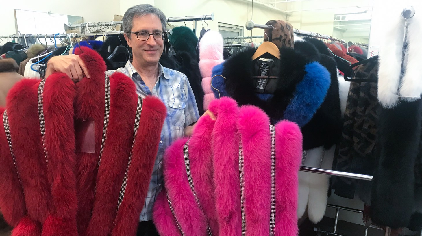 Daniel Wachtenheim shows off some new fur coats at Wachtenheim Furs in downtown Los Angeles.