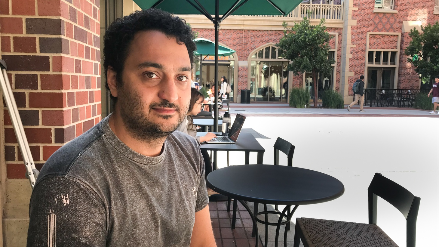 Iranian student Sassan Yusefi at USC Village.