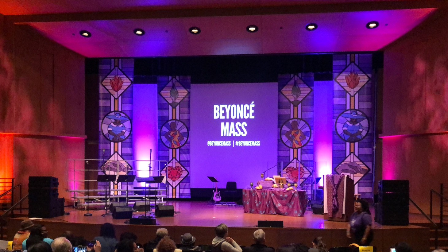 Attendees fill the Garrison Theater at Scripps College for Beyonce Mass.
