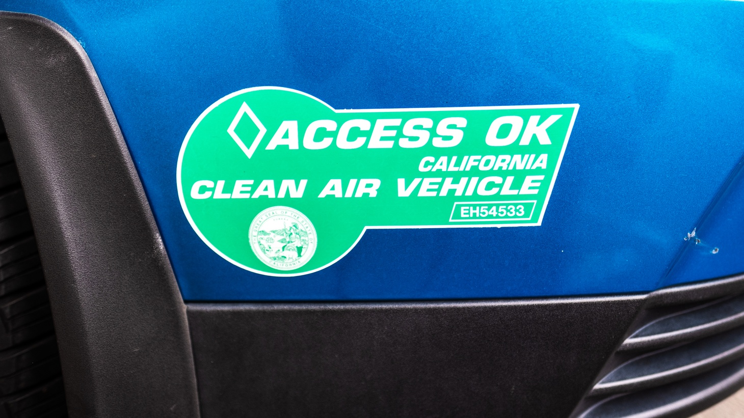 California clean air vehicle sticker in downtown LA.