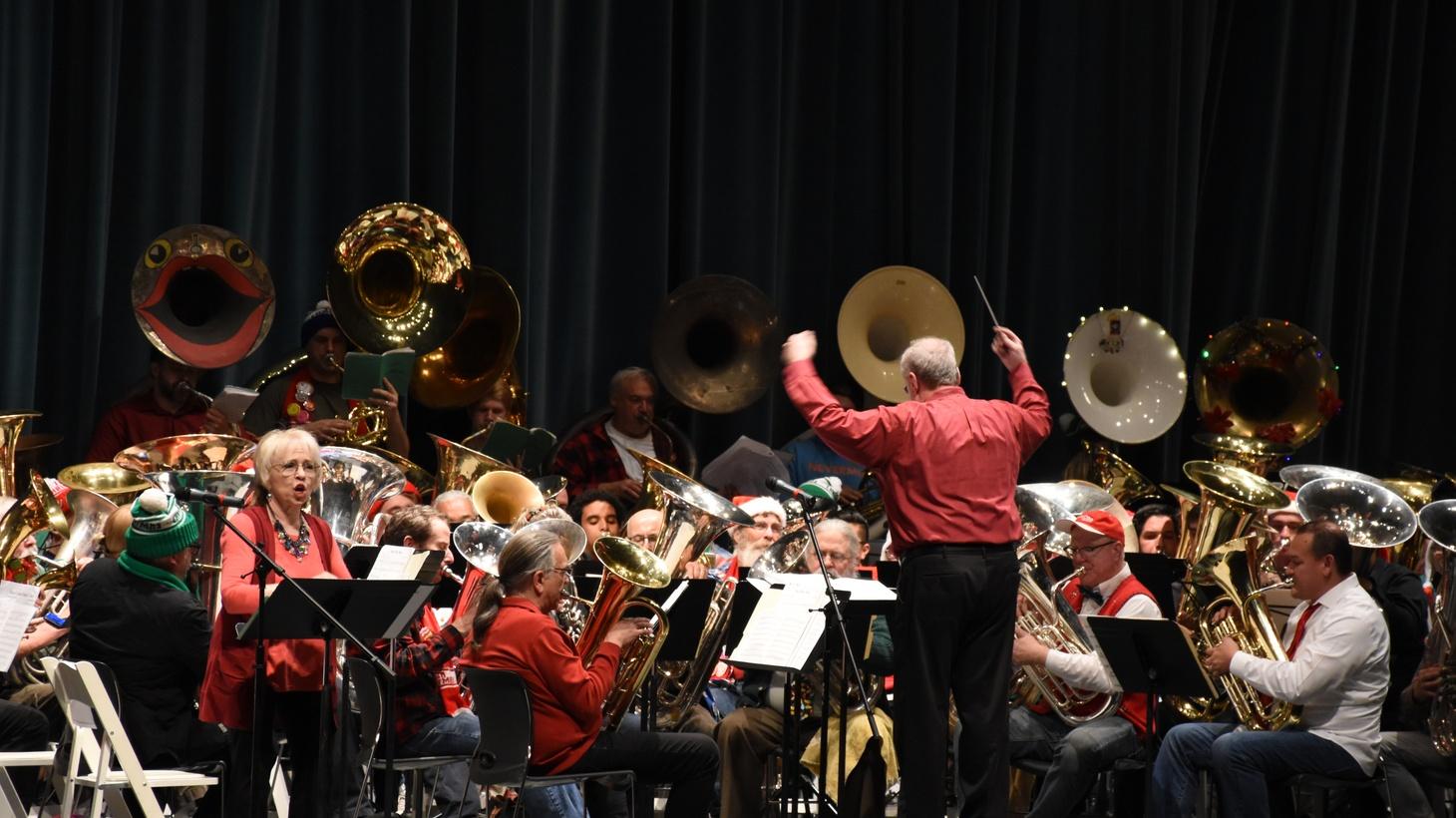 LA Tuba Christmas brings 130 tuba players together to play holiday classics.