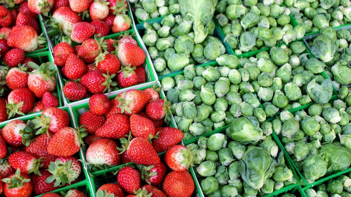 Strawberries and Brussel sprouts, which Frecker picks while they're still small