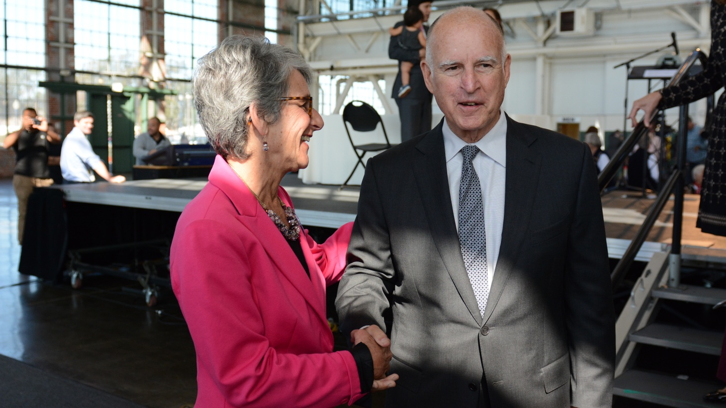 State Senator Hannah Beth Jackson with former California Governor Jerry Brown.