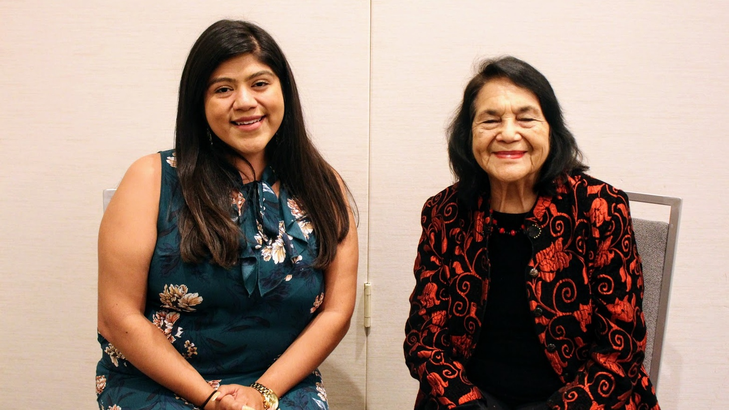 Dolores Huerta (right) with Eunice Gonzalez (left), who grew up in Santa Maria where her parents worked in the strawberry fields.