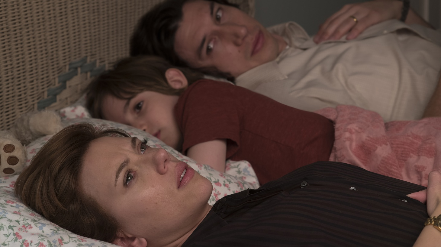 "Nicole (Scarlett Johansson), Charlie (Adam Driver), and their son in ""Marriage Story."""