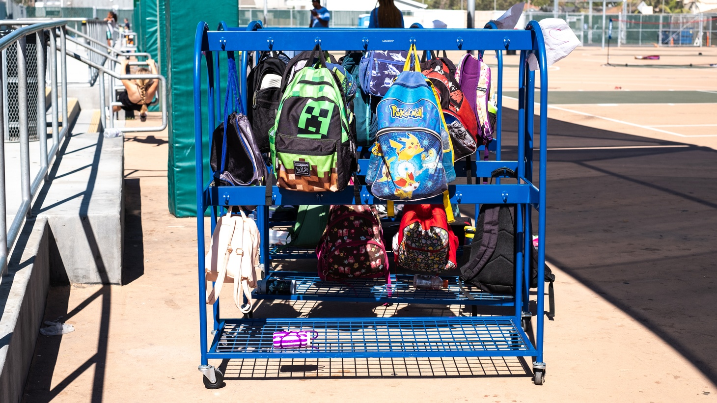 Children's backpacks at Palms Middle School.