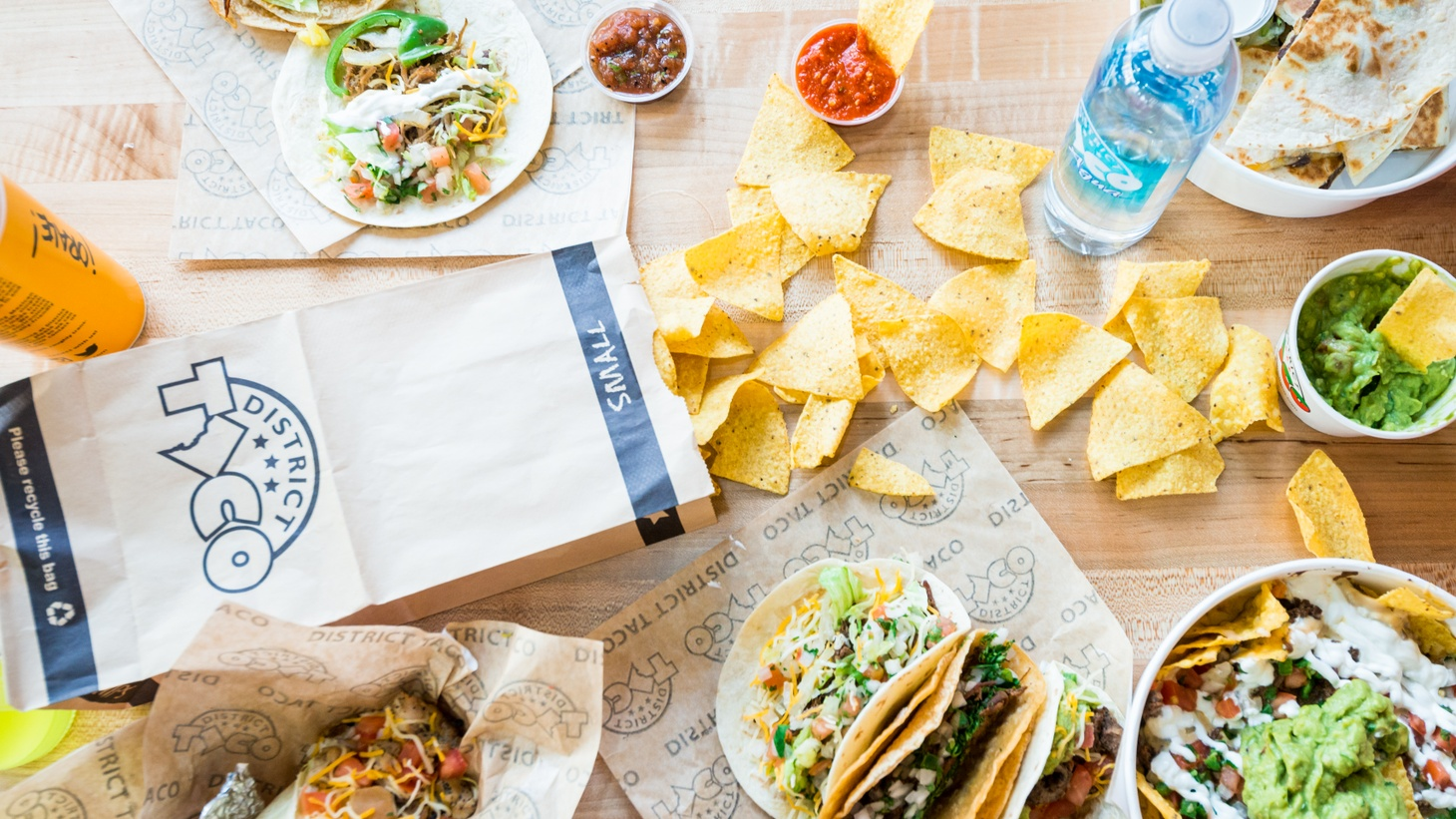 Tacos, burritos, quesadillas, chips and salsa for takeout from District Taco restaurant.