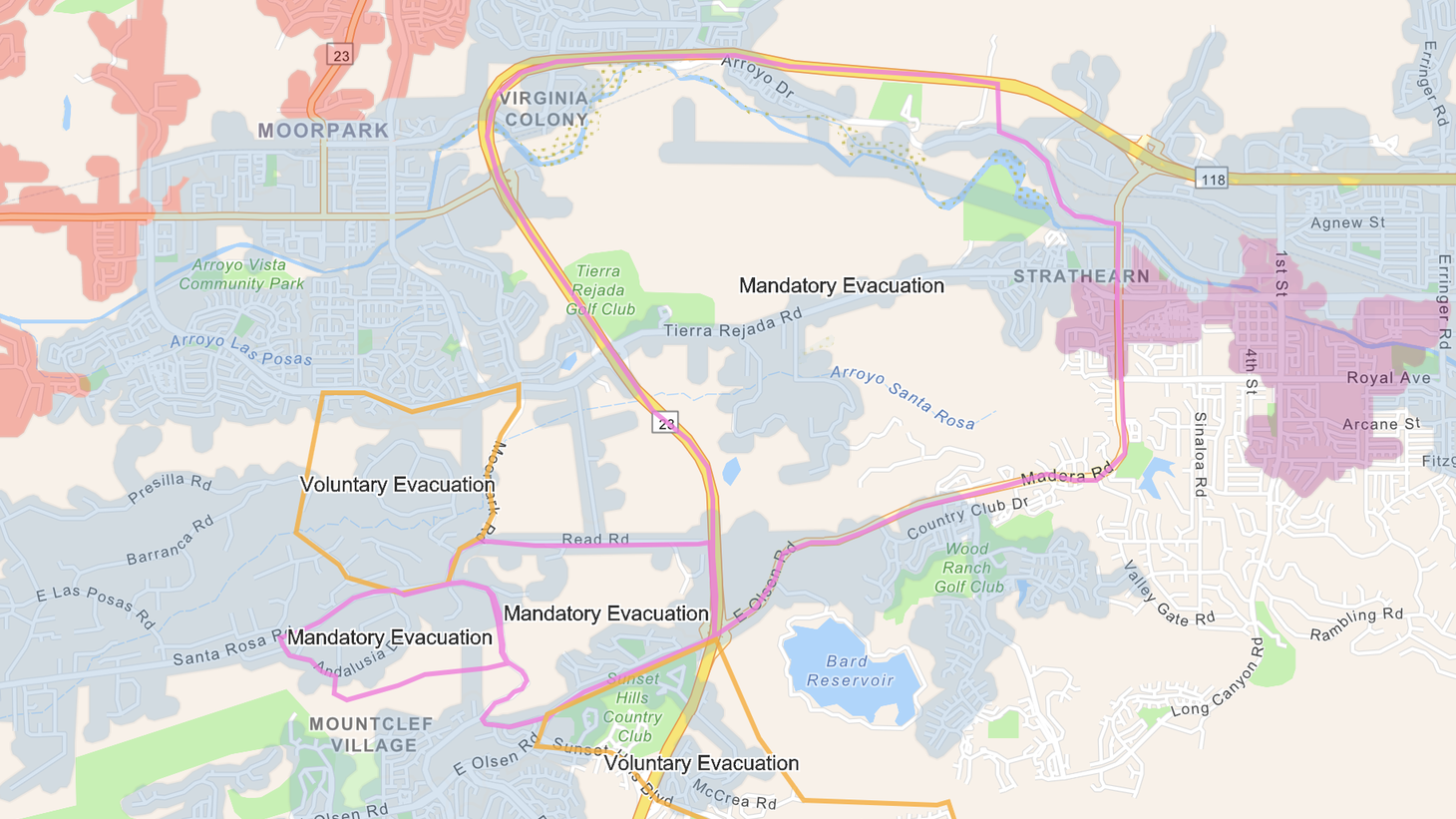 A map of evacuation zones for the Easy Fire.