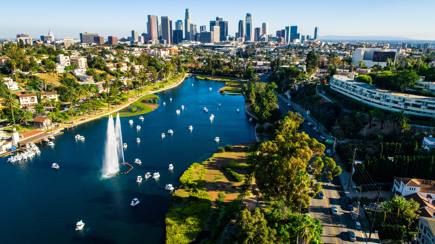An aerial drone view of Echo Park Lake in Los Angeles. The park reopened to the public this week after being closed for two months of repairs.