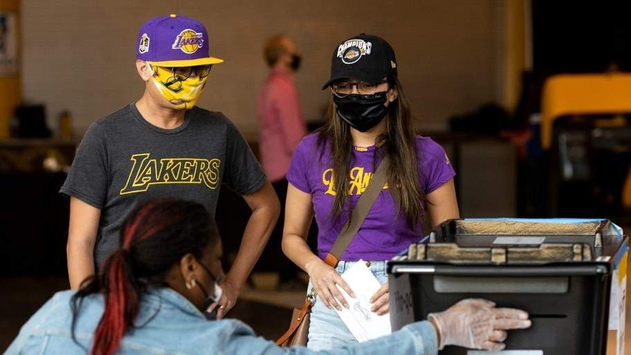 Voters cast their ballots at Staples Center in downtown Los Angeles.