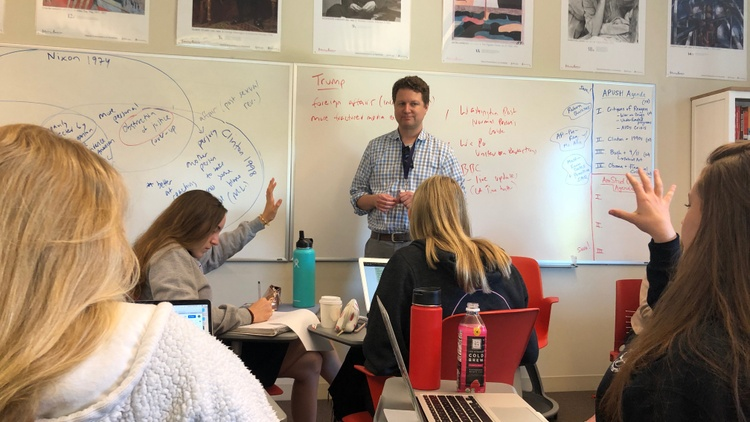 Inside a Los Angeles private school classroom, sophomores in an AP History class discussed the Mueller Report.